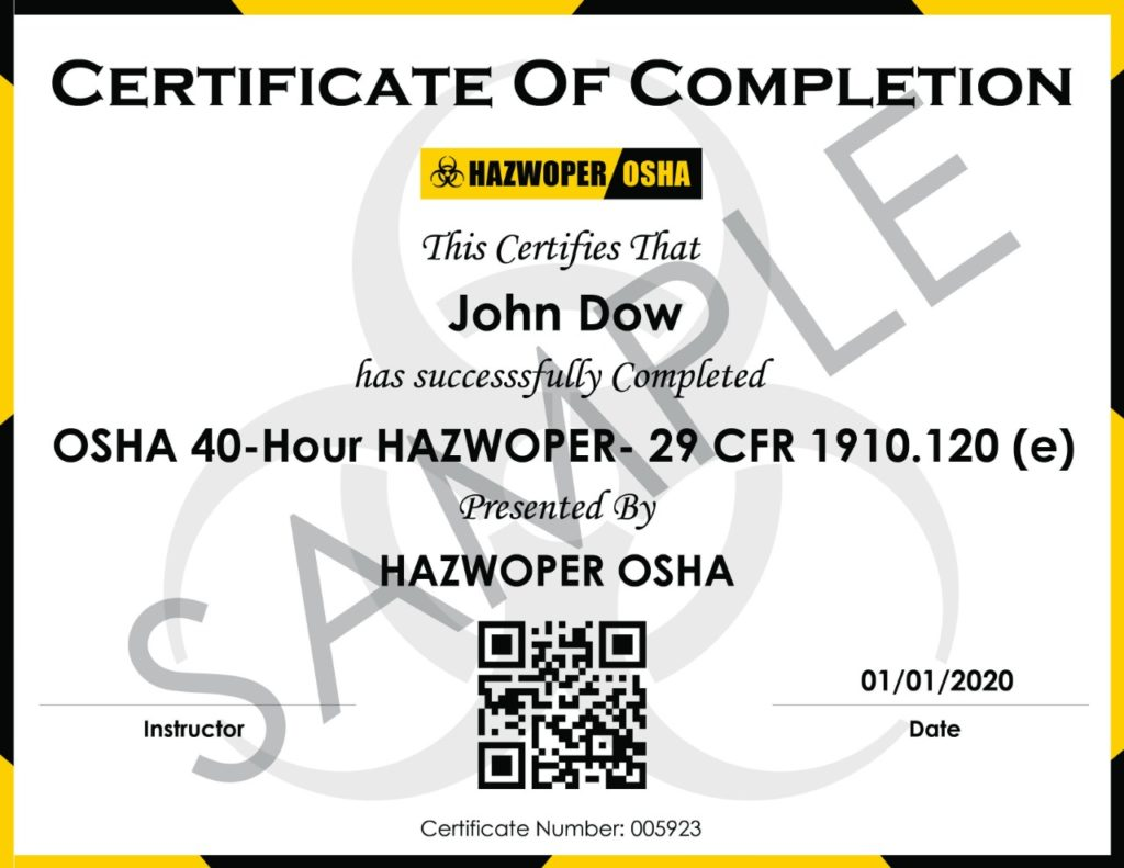 HAZWOPER Training Guidelines – Course Certificates (Thumbnail)