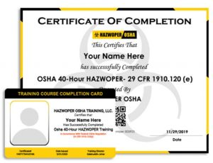 OSHA training certificate of completion