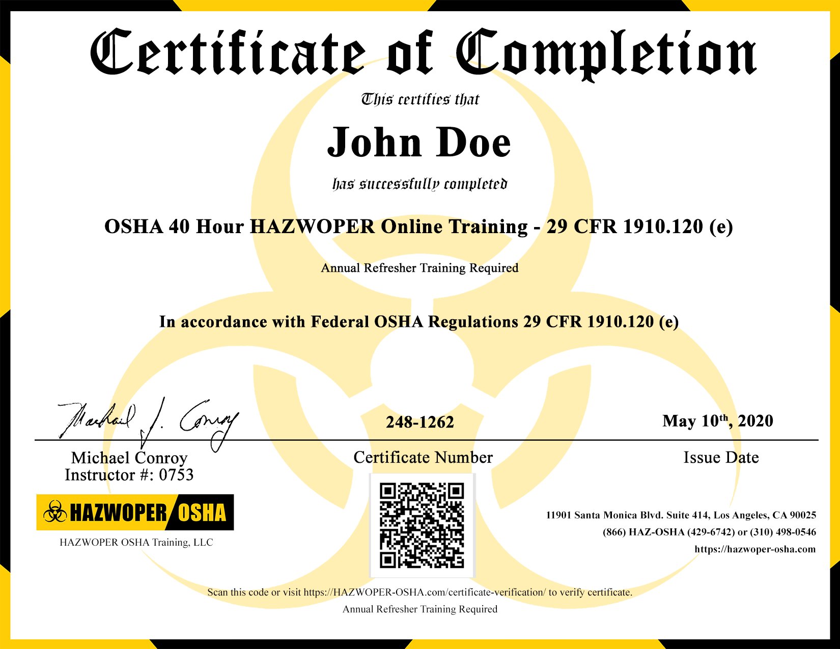 Certificate Numbers