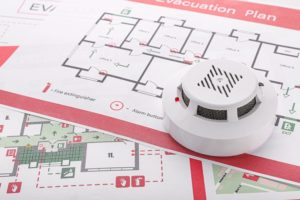 Fire safety evacuation plan and fire alarm